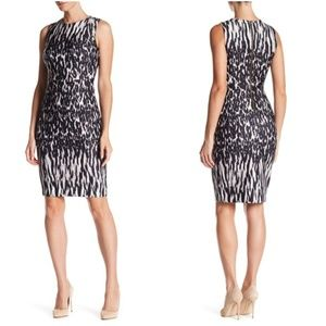 CALVIN KLEIN Animal Print Scuba Dress